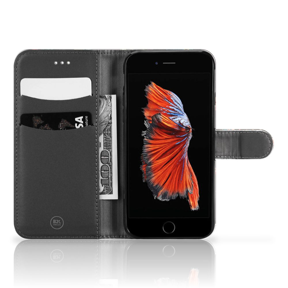 Apple iPhone 6 Plus | 6s Plus Telefoonhoesje met Pasjes Pauw met Bloemen