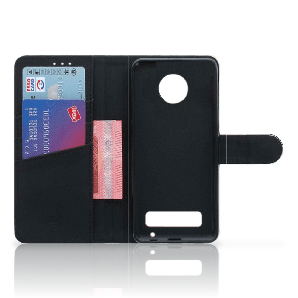 Motorola Moto Z Play Uniek Boekhoesje Black Pink Shapes