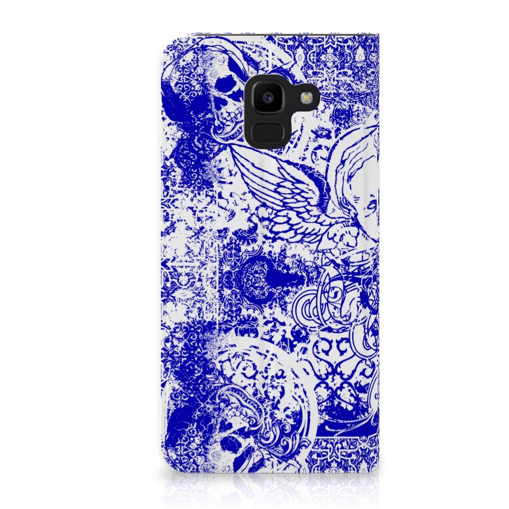 Samsung Galaxy J6 (2018) Uniek Standcase Hoesje Angel Skull Blue