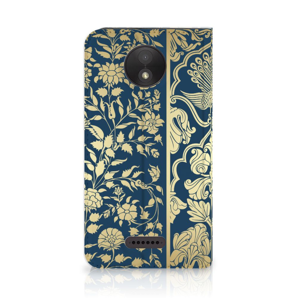 Motorola Moto C Plus Standcase Hoesje Golden Flowers