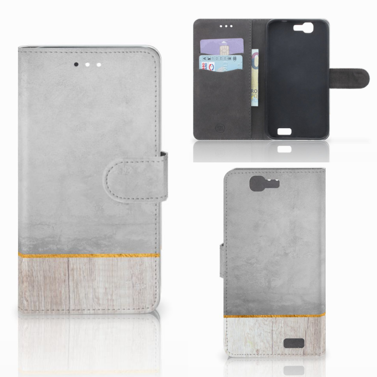 Huawei Ascend G7 Book Style Case Wood Concrete