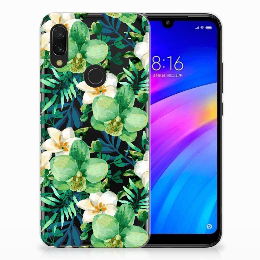 Xiaomi Redmi 7 Uniek TPU Hoesje Orchidee Groen