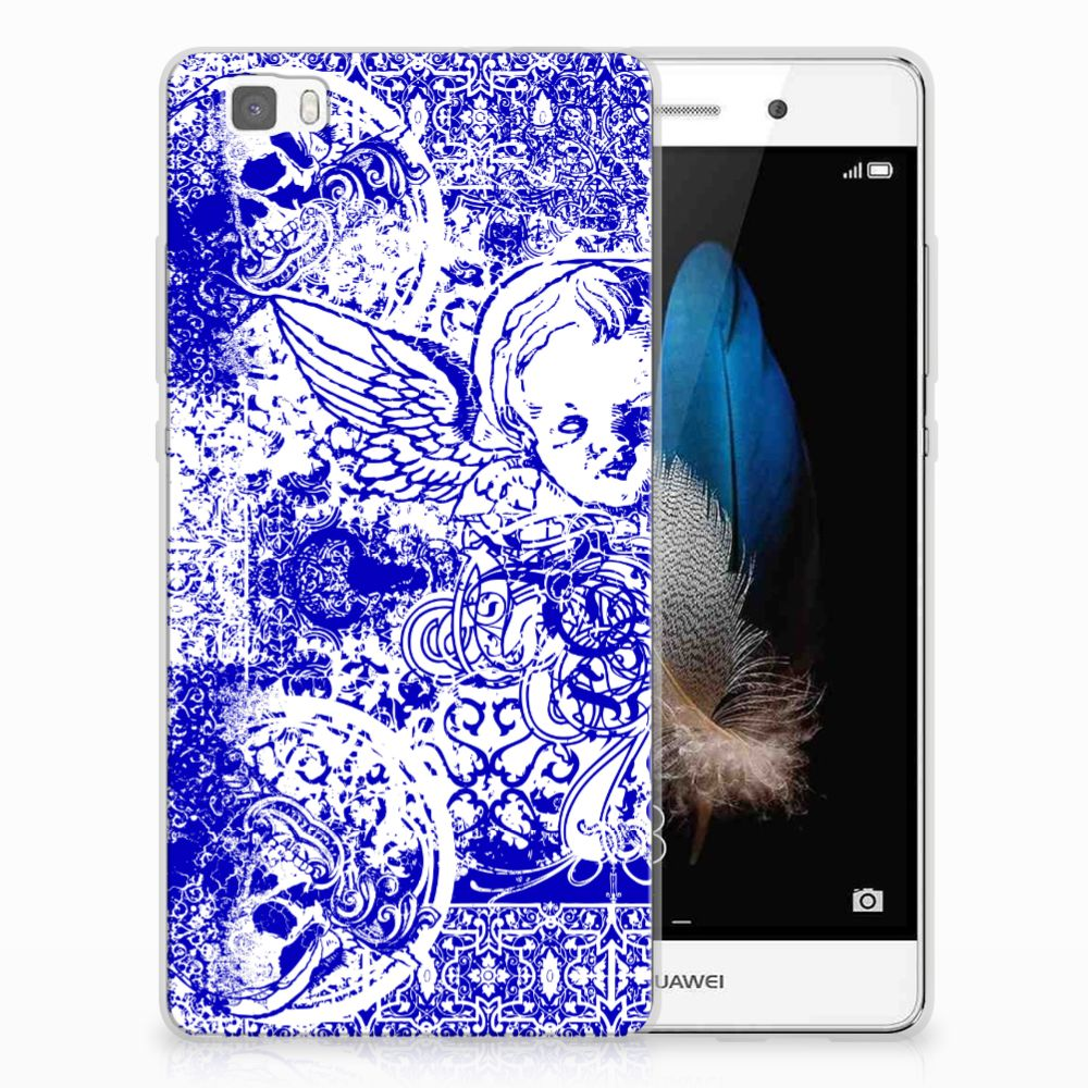 Silicone Back Case Huawei Ascend P8 Lite Angel Skull Blauw