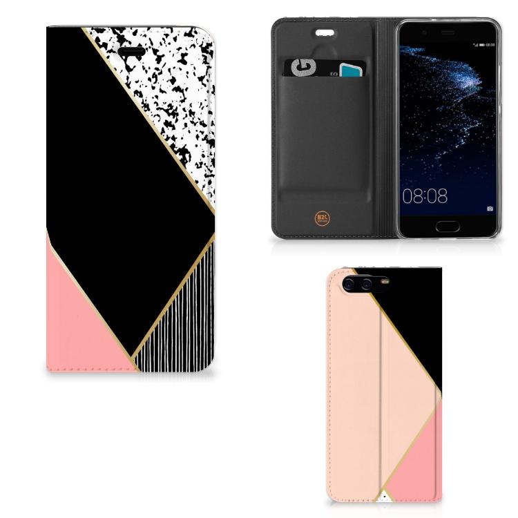 Huawei P10 Stand Case Zwart Roze Vormen