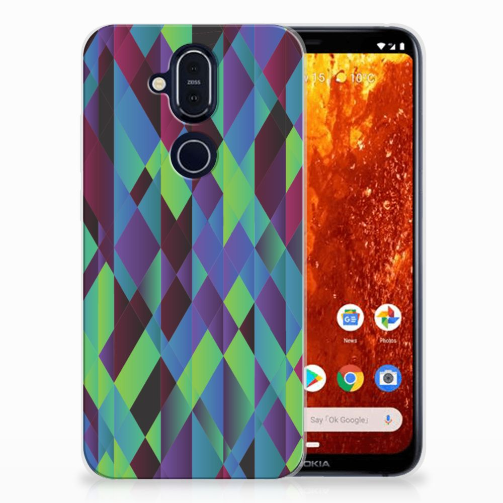 Nokia 8.1 TPU Hoesje Abstract Green Blue