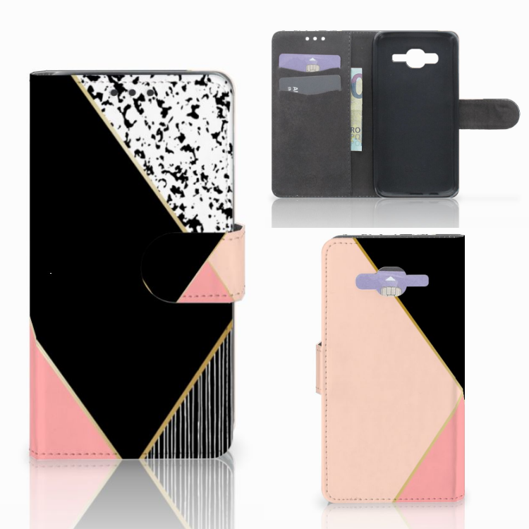 Samsung Galaxy J5 (2015) Bookcase Zwart Roze Vormen