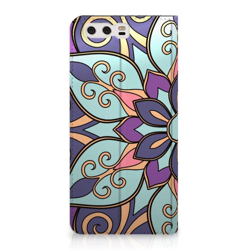 Huawei P10 Plus Standcase Hoesje Design Purple Flower