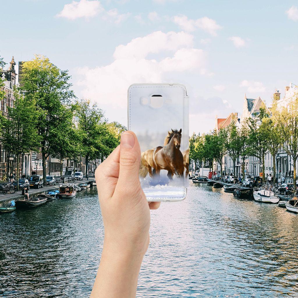 Samsung Galaxy Grand Prime Telefoonhoesje met Pasjes Paarden