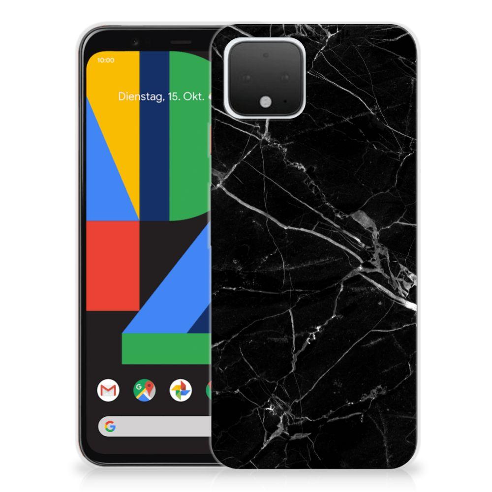 Google Pixel 4 TPU Siliconen Hoesje Marmer Zwart