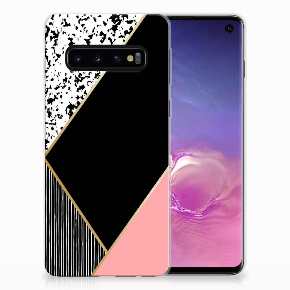 Samsung Galaxy S10 TPU Hoesje Zwart Roze Vormen