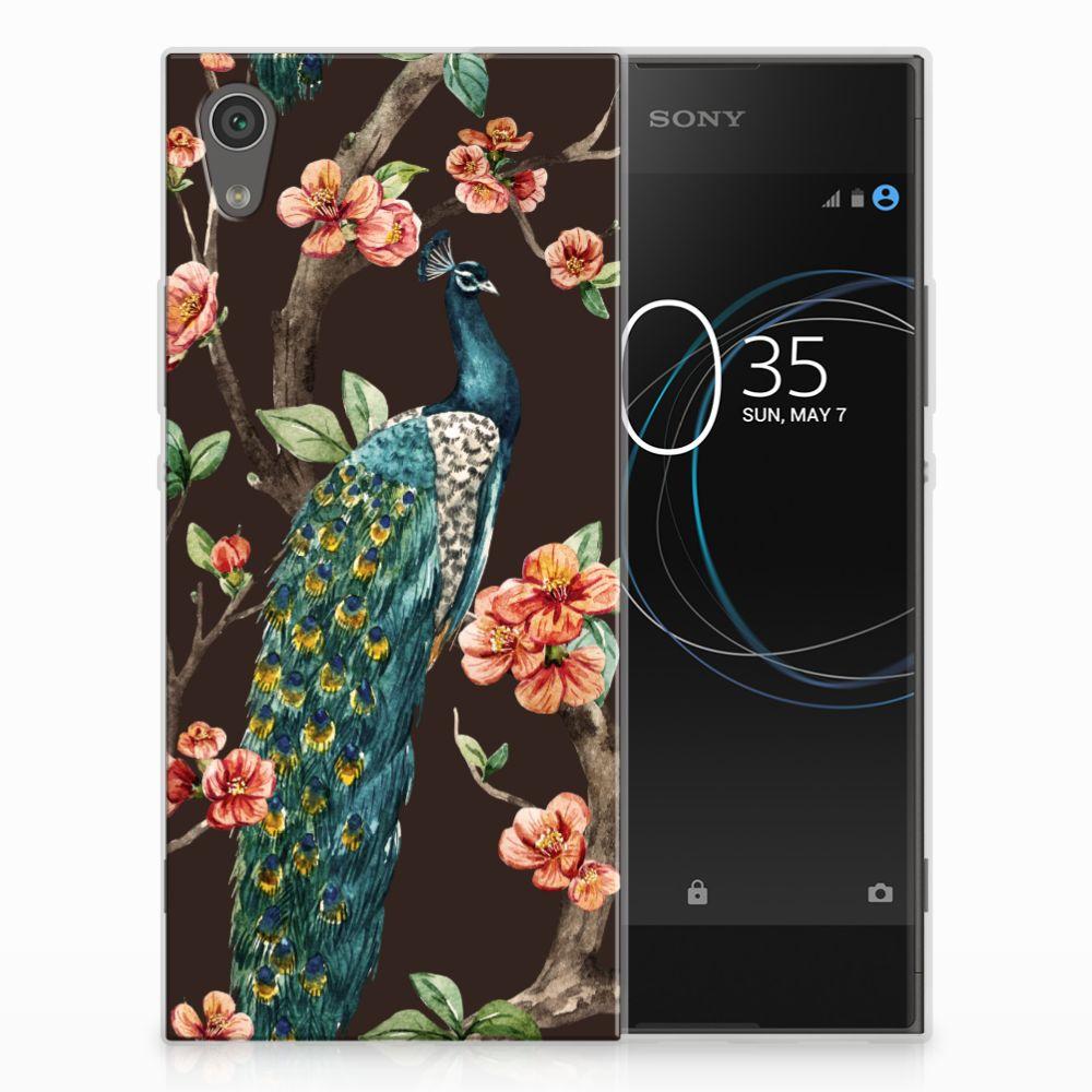 Sony Xperia XA1 TPU Hoesje Design Pauw met Bloemen