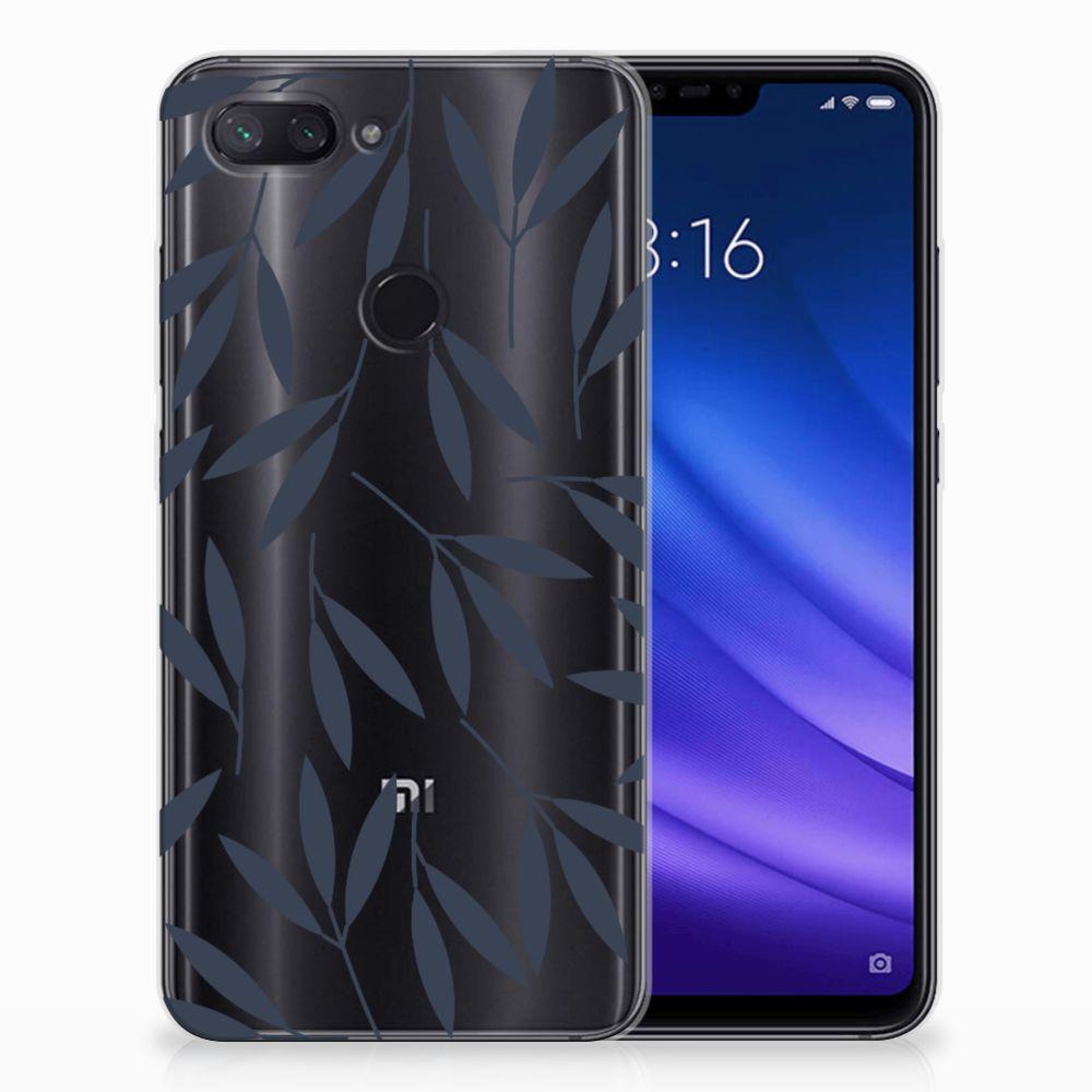 Xiaomi Mi 8 Lite TPU Hoesje Design Leaves Blue