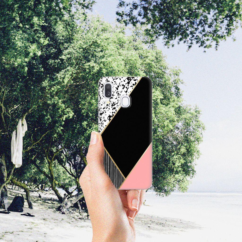 Samsung Galaxy A40 TPU Hoesje Zwart Roze Vormen