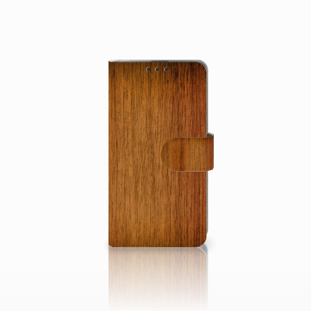 Microsoft Lumia 535 Uniek Boekhoesje Donker Hout