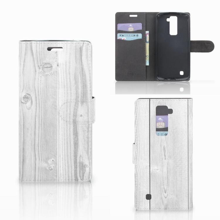 LG K10 2015 Book Style Case White Wood