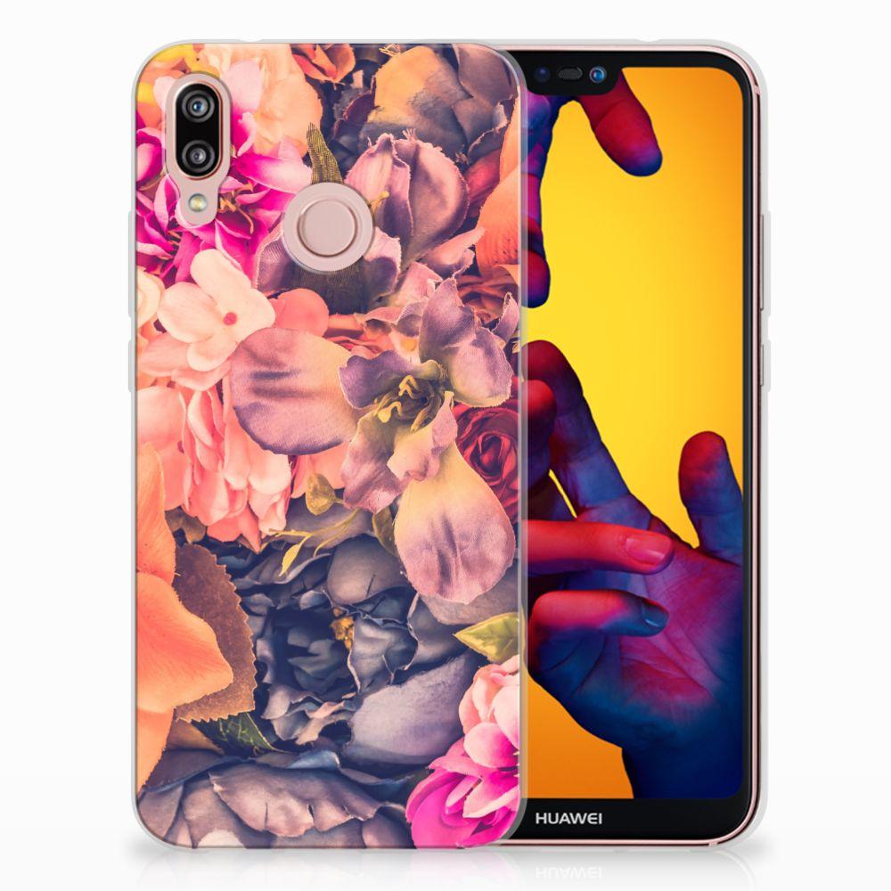 Huawei P20 Lite TPU Hoesje Design Bosje Bloemen