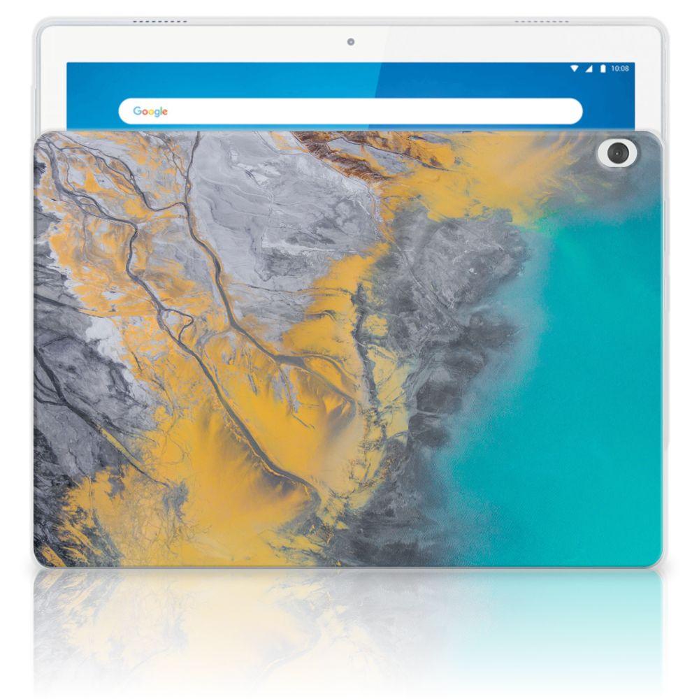 Lenovo Tab M10 Tablet Back Cover Marble Blue Gold