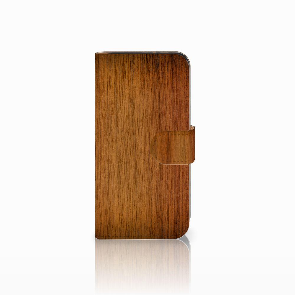 HTC One Mini 2 Uniek Boekhoesje Donker Hout