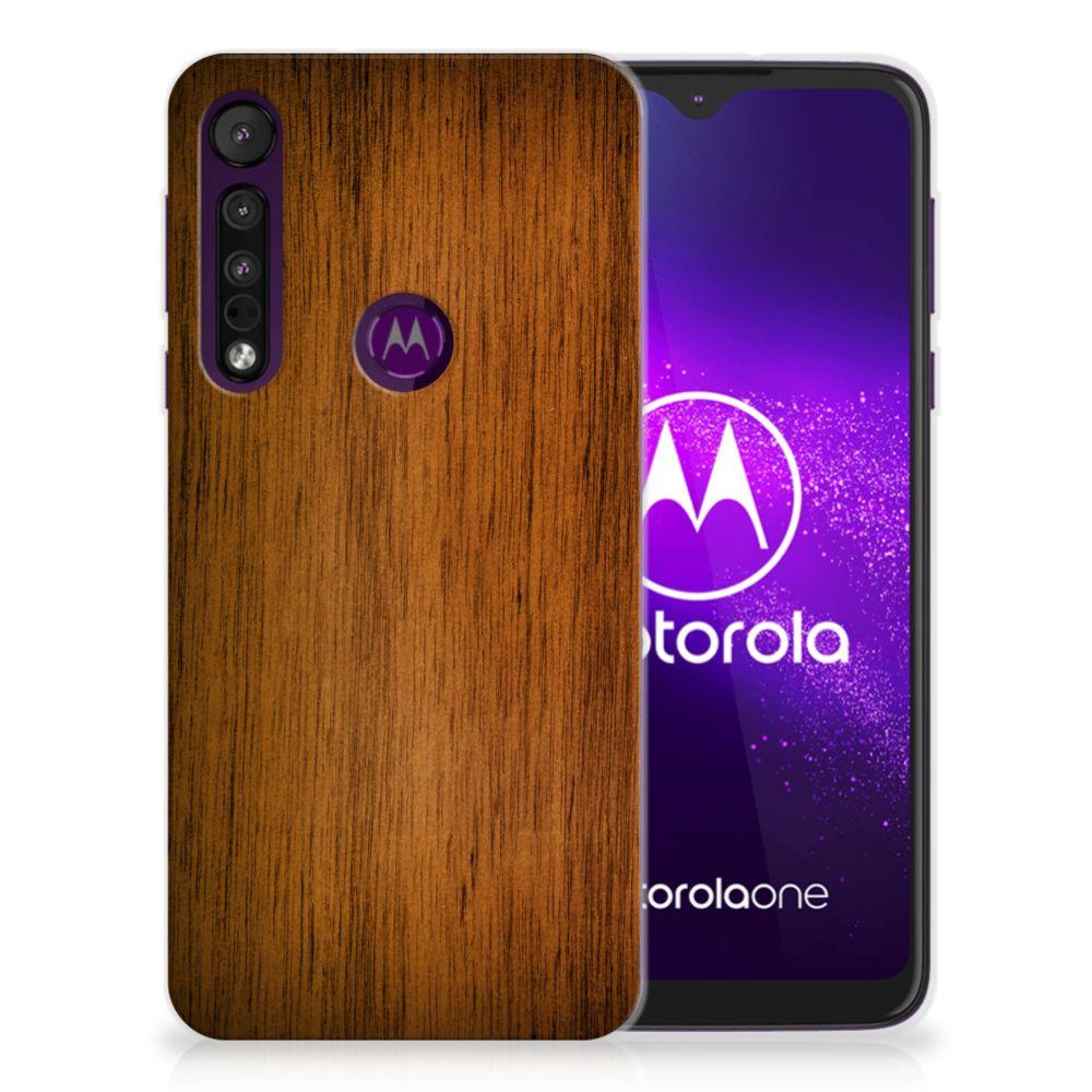 Motorola One Macro Bumper Hoesje Donker Hout