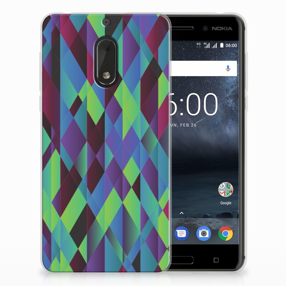 Nokia 6 TPU Hoesje Abstract Green Blue
