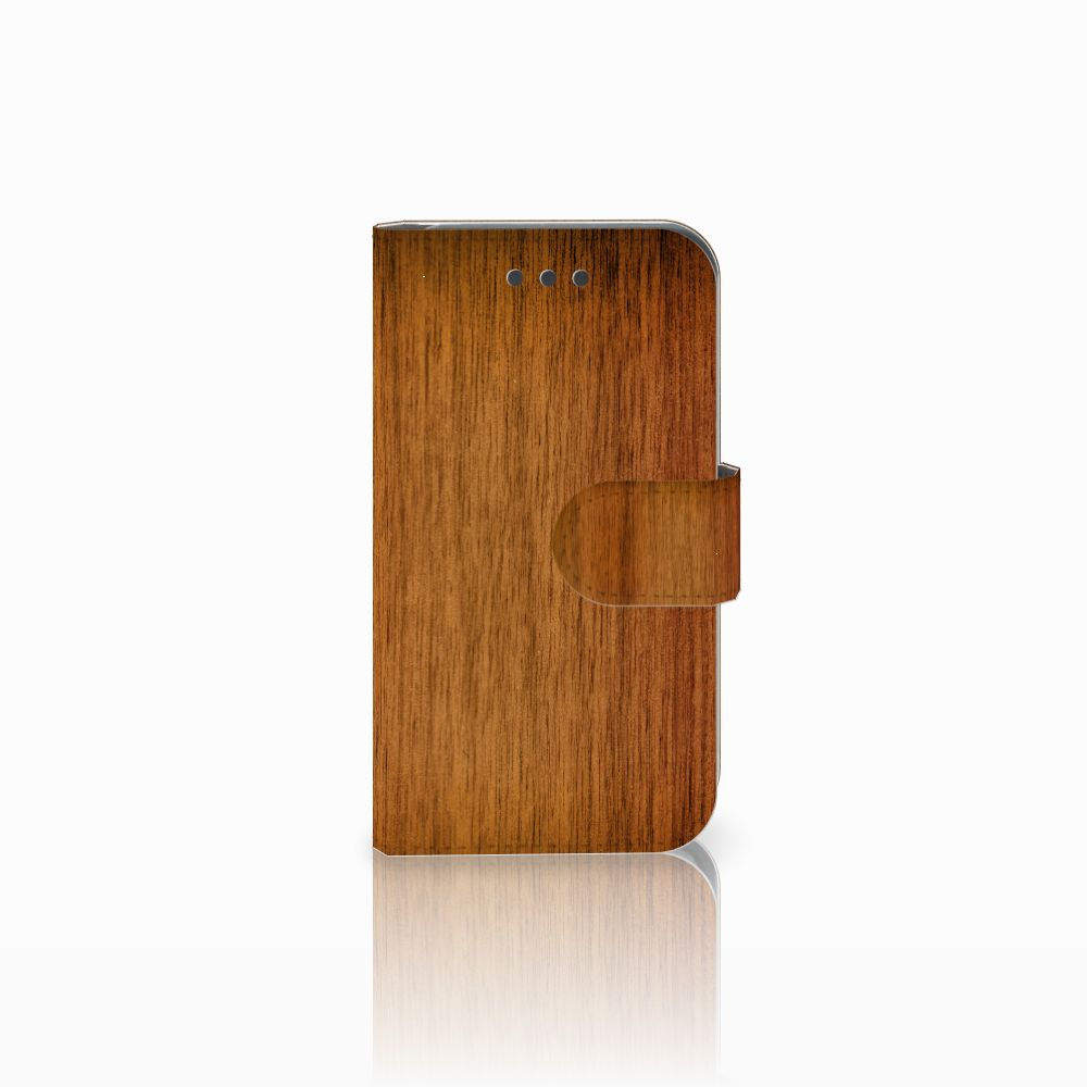 Samsung Galaxy Core 2 Uniek Boekhoesje Donker Hout