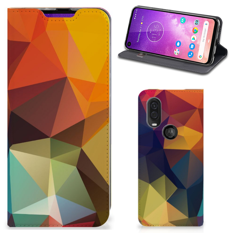 Motorola One Vision Stand Case Polygon Color