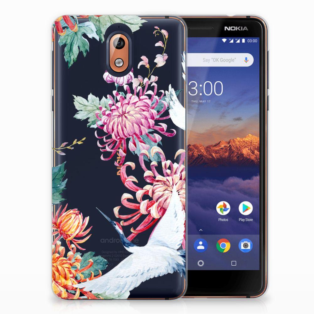 Nokia 3.1 (2018) Uniek TPU Hoesje Bird Flowers