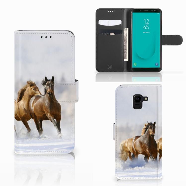 Samsung Galaxy J6 2018 Telefoonhoesje met Pasjes Paarden
