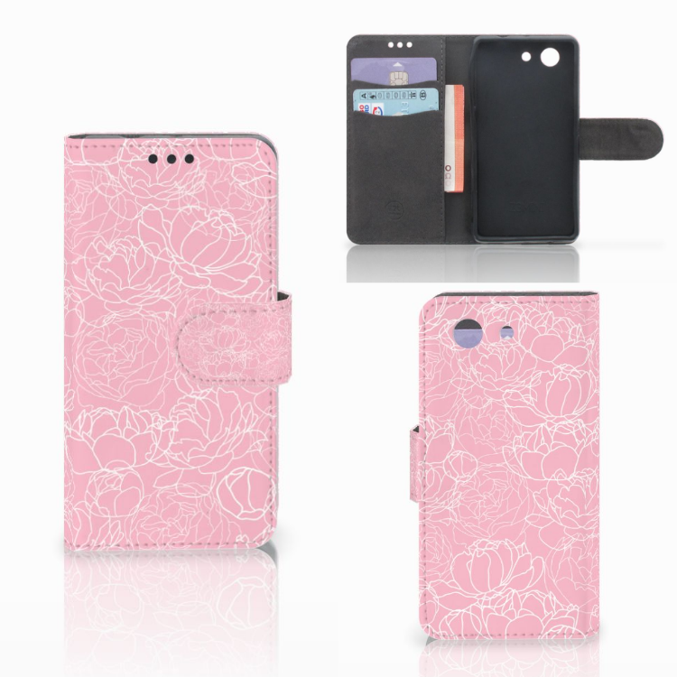 Sony Xperia Z3 Compact Wallet Case White Flowers