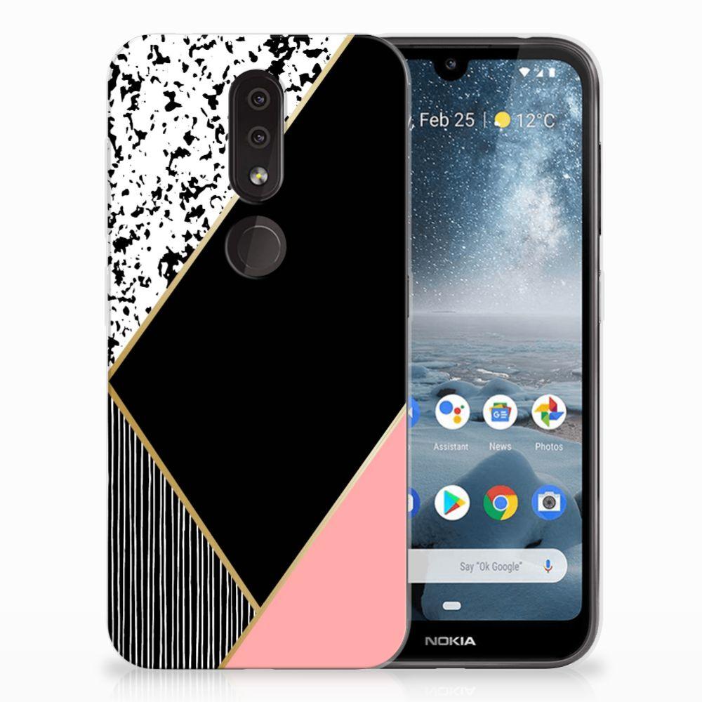 Nokia 4.2 TPU Hoesje Black Pink Shapes