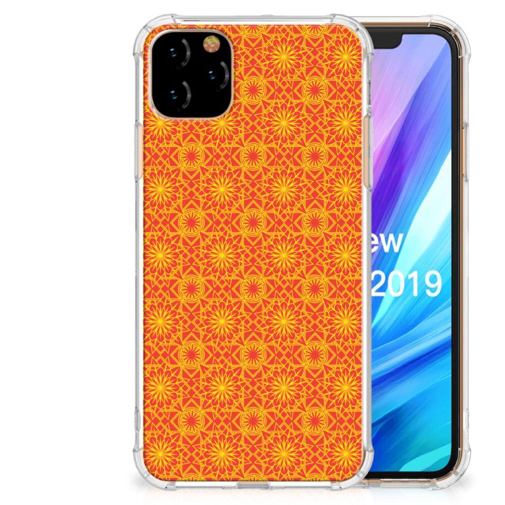 Apple iPhone 11 Pro Max Doorzichtige Silicone Hoesje Batik Oranje