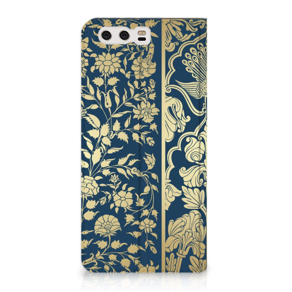 Huawei P10 Plus Standcase Hoesje Golden Flowers