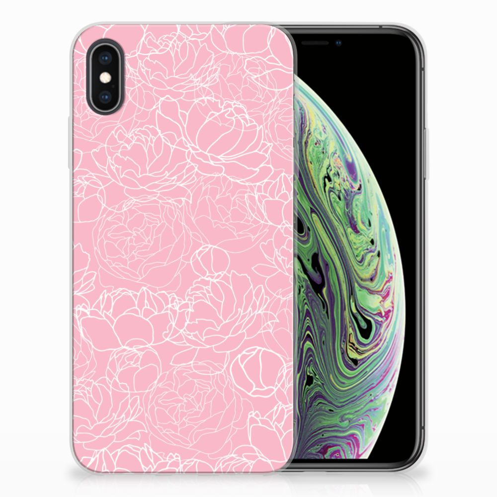 Apple iPhone Xs Max Siliconen Hoesje White Flowers
