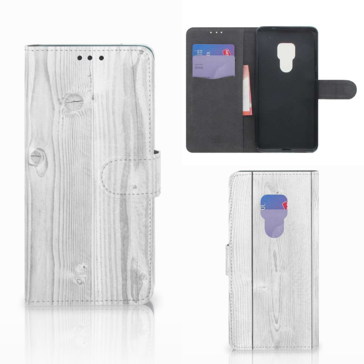 Huawei Mate 20 Book Style Case White Wood