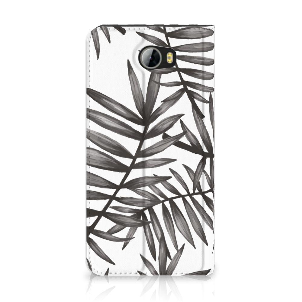 Huawei Y5 2   Y6 Compact Uniek Standcase Hoesje Leaves Grey