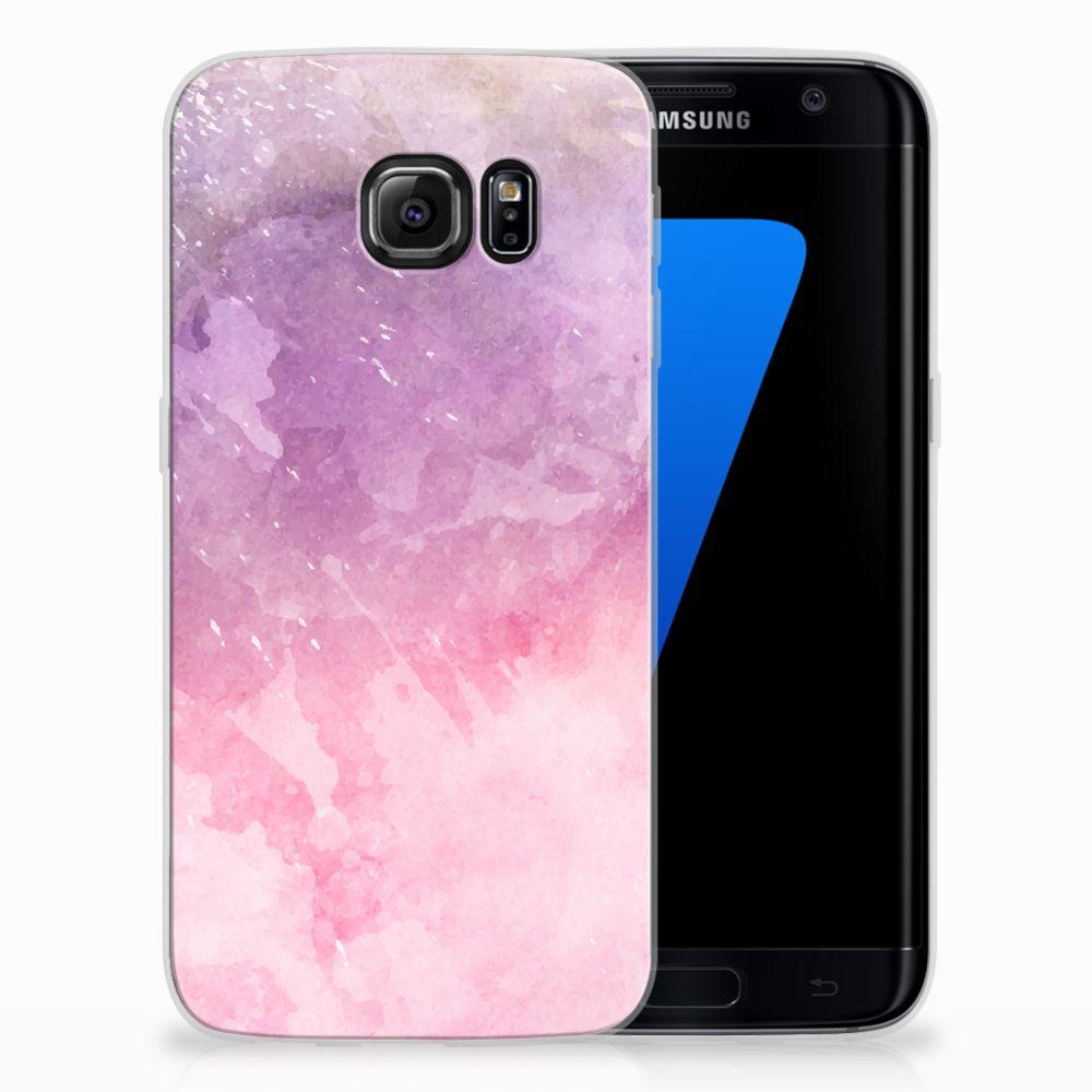 Samsung Galaxy S7 Edge TPU Hoesje Design Pink Purple Paint