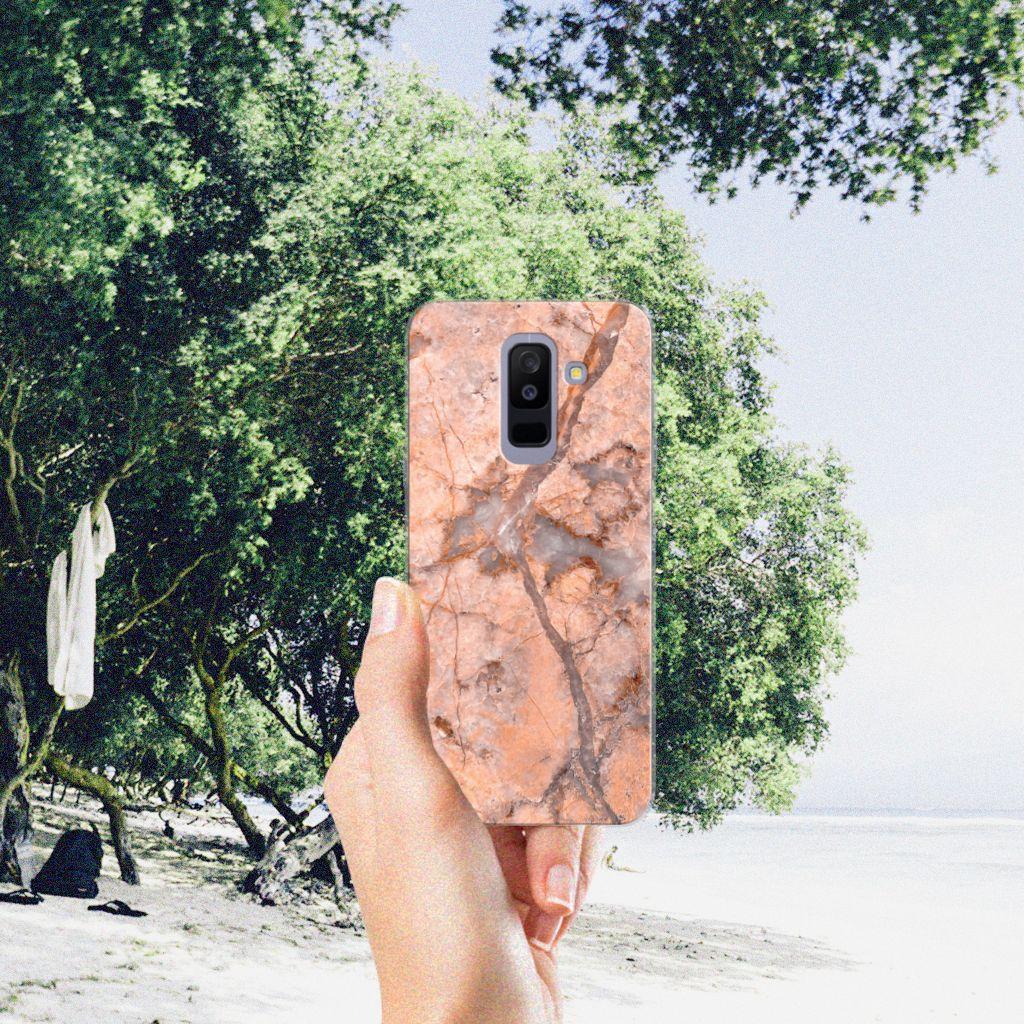 Samsung Galaxy A6 Plus (2018) TPU Siliconen Hoesje Marmer Oranje