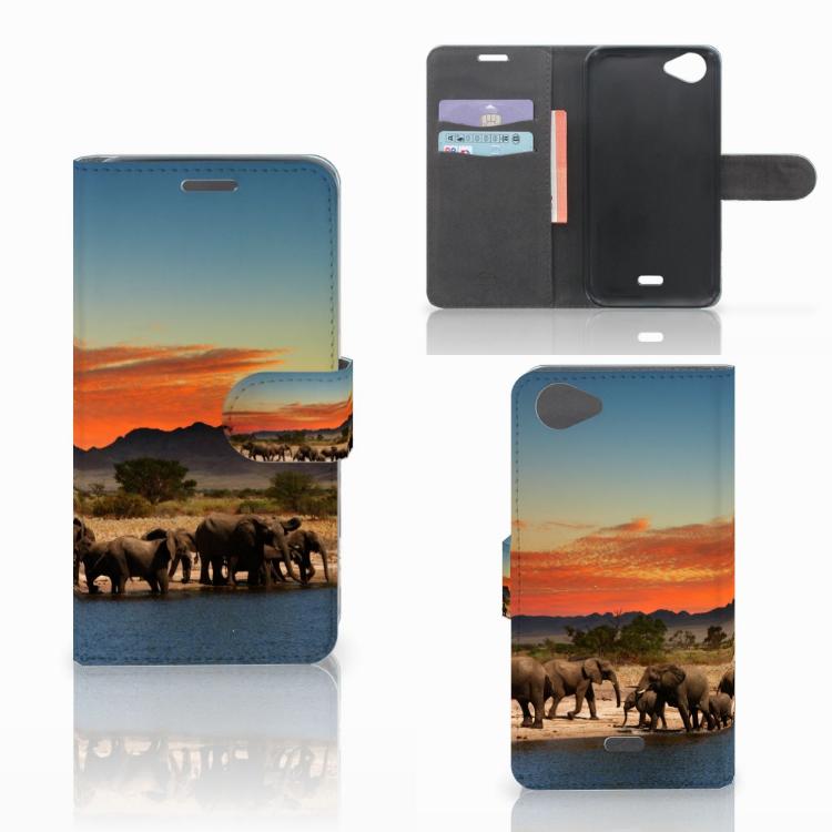 Wiko Rainbow Jam Telefoonhoesje met Pasjes Olifanten