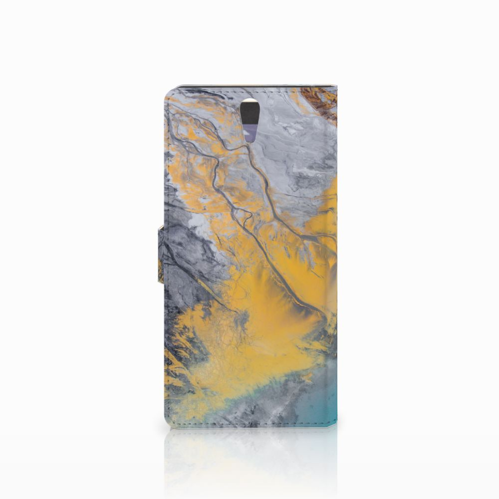 Sony Xperia C5 Ultra Bookcase Marble Blue Gold