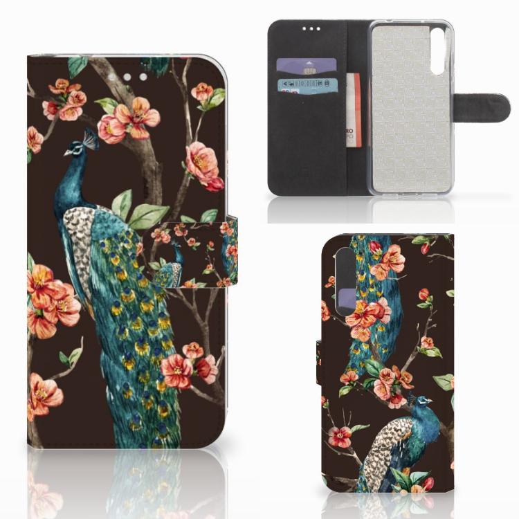 Huawei P20 Pro Telefoonhoesje met Pasjes Pauw met Bloemen