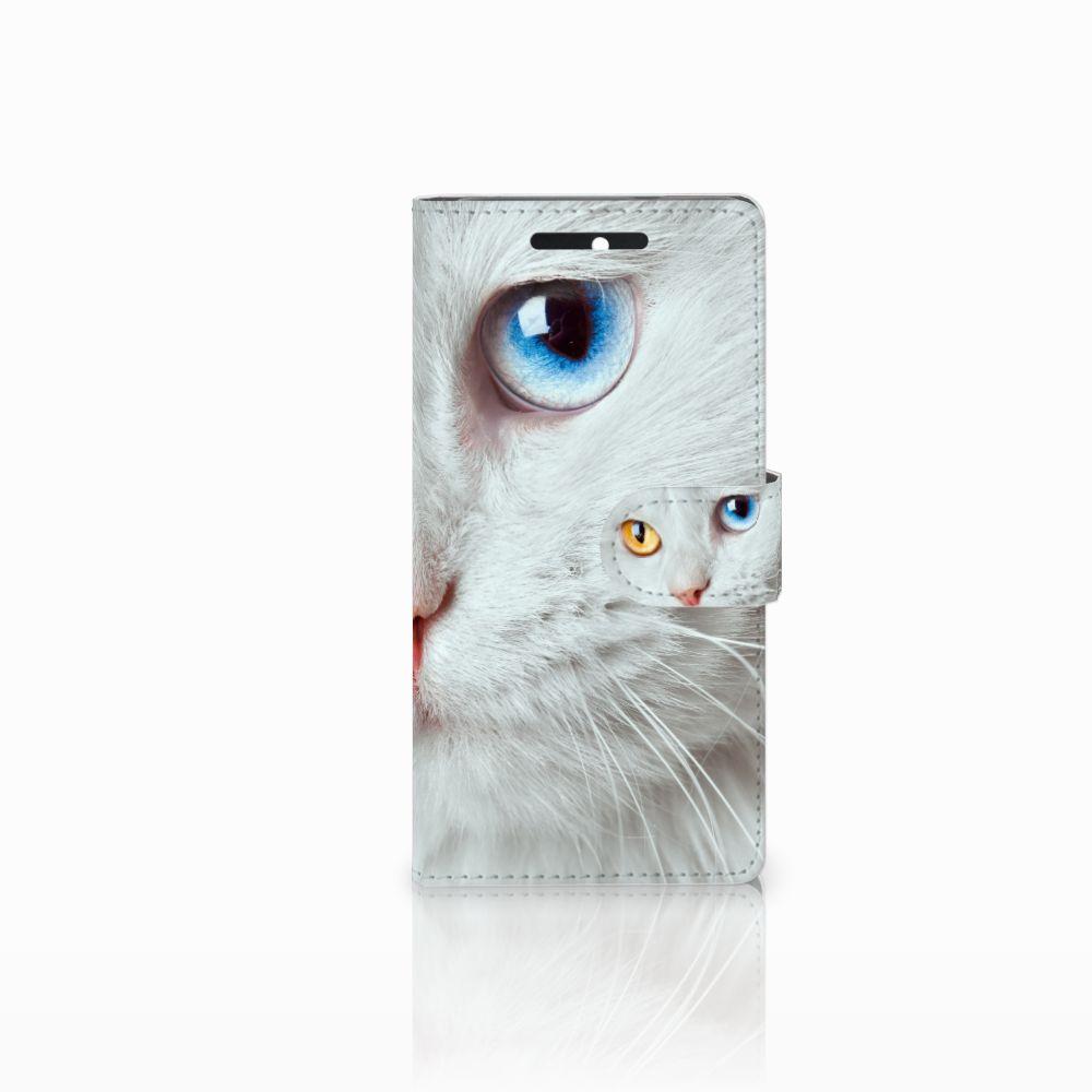 HTC Desire 628 Telefoonhoesje met Pasjes Witte Kat