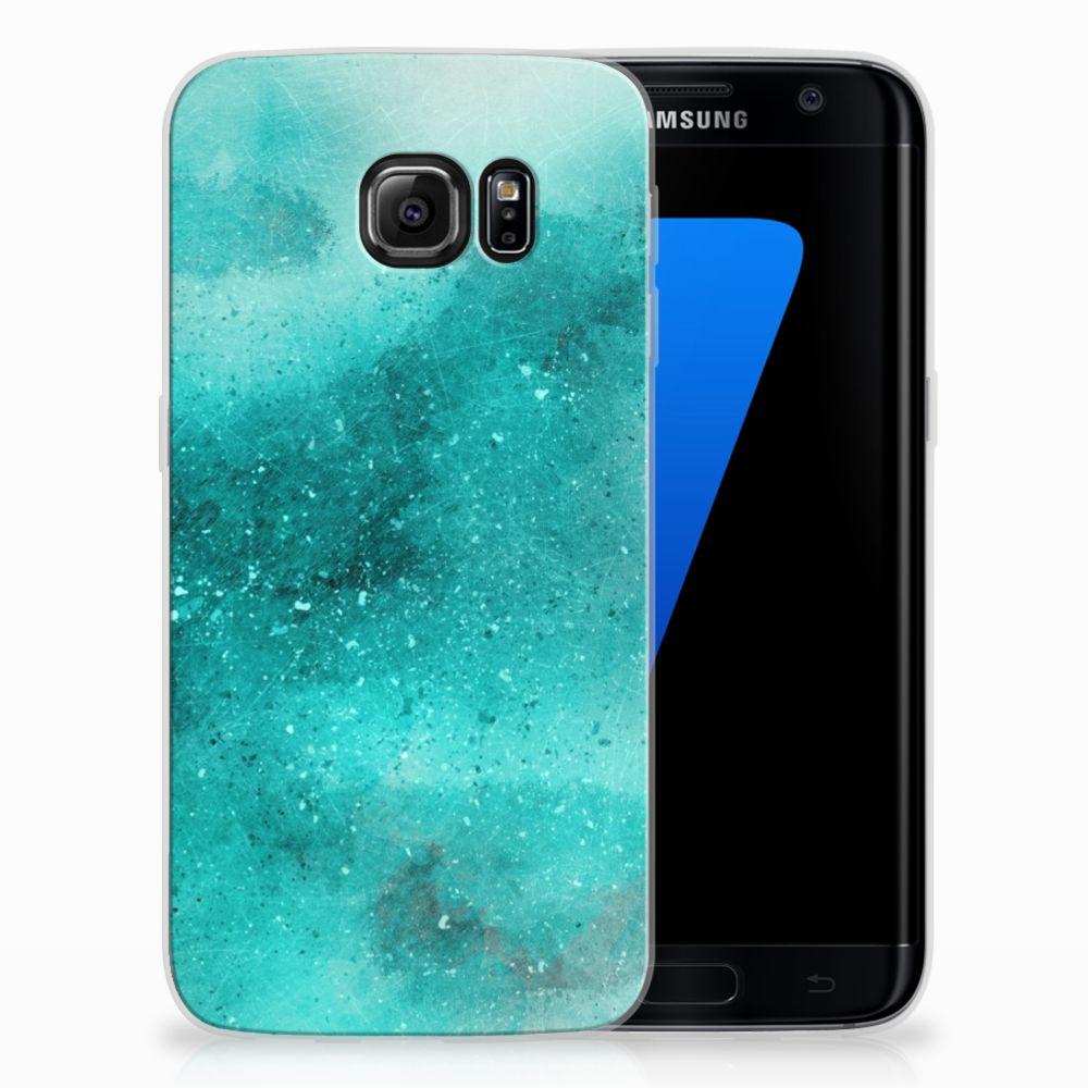 Samsung Galaxy S7 Edge Uniek TPU Hoesje Painting Blue