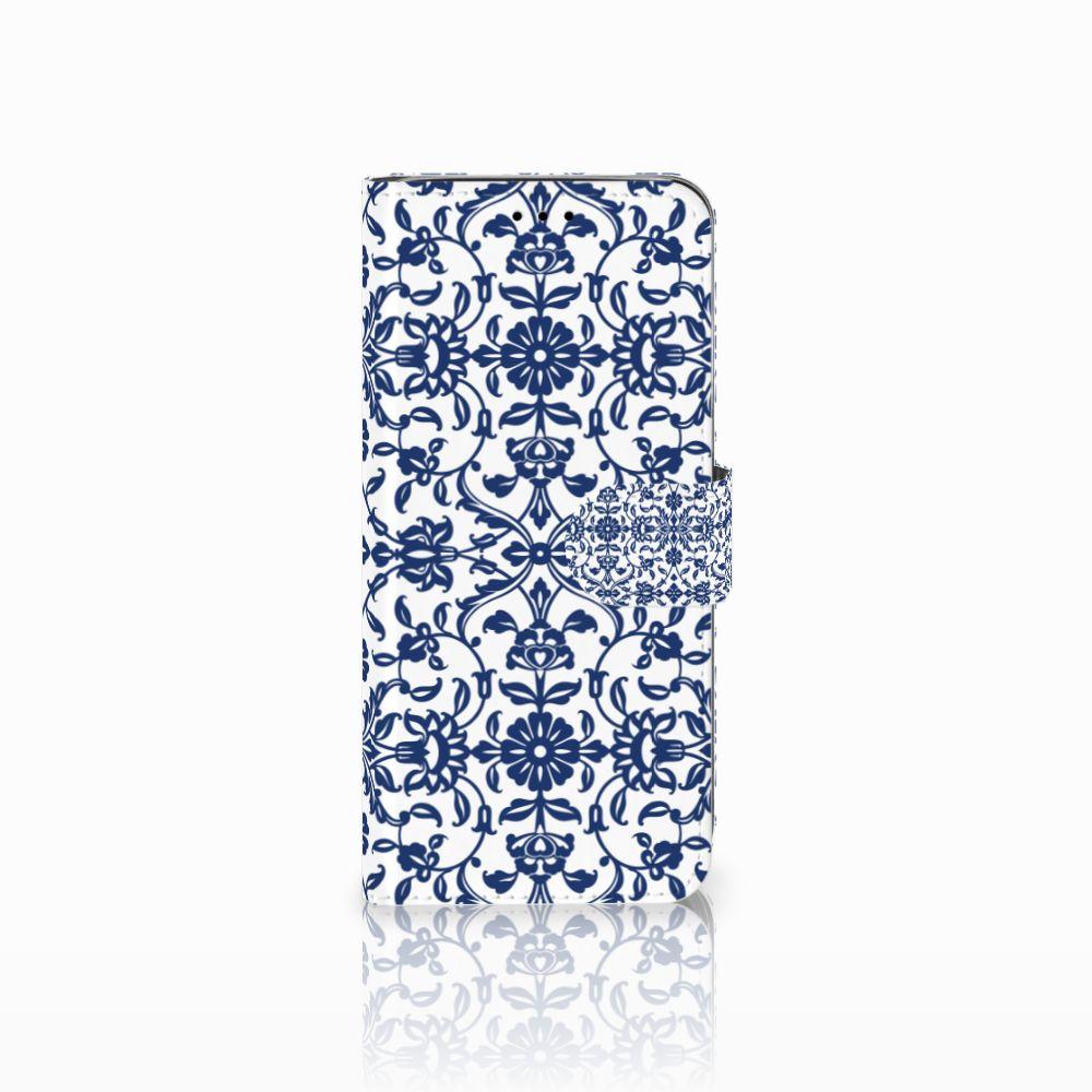 Samsung Galaxy A6 2018 Uniek Boekhoesje Flower Blue