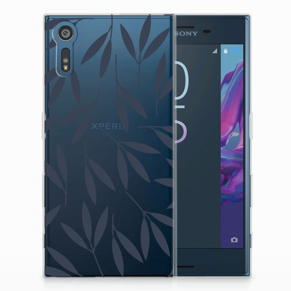 Sony Xperia XZs | XZ TPU Hoesje Design Leaves Blue