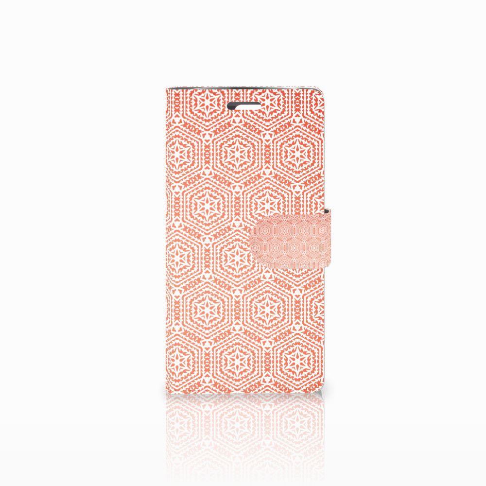 LG K10 2015 Uniek Boekhoesje Pattern Orange