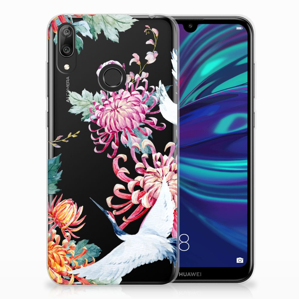 Huawei Y7 2019 Leuk Hoesje Bird Flowers