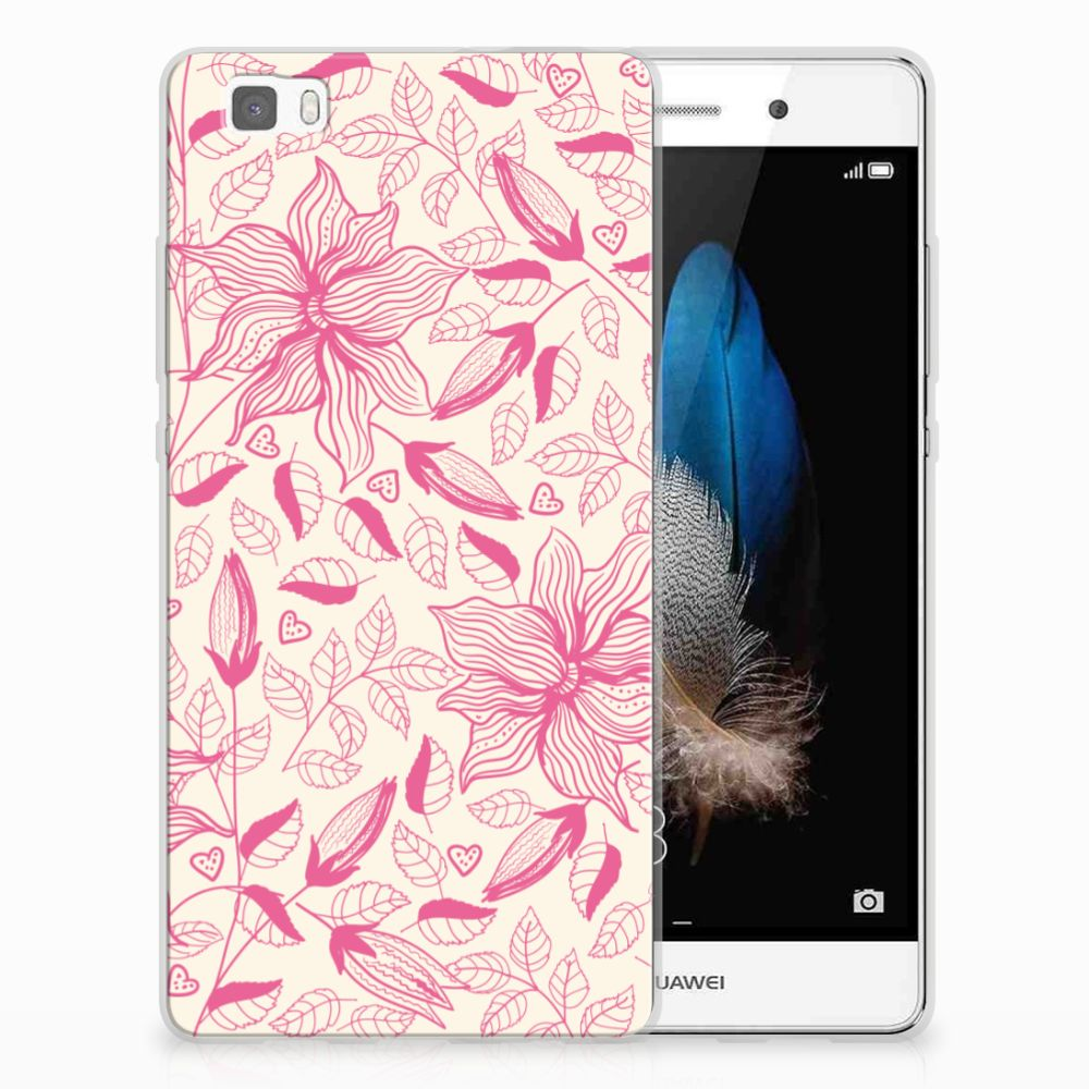 Huawei Ascend P8 Lite Uniek TPU Hoesje Pink Flowers