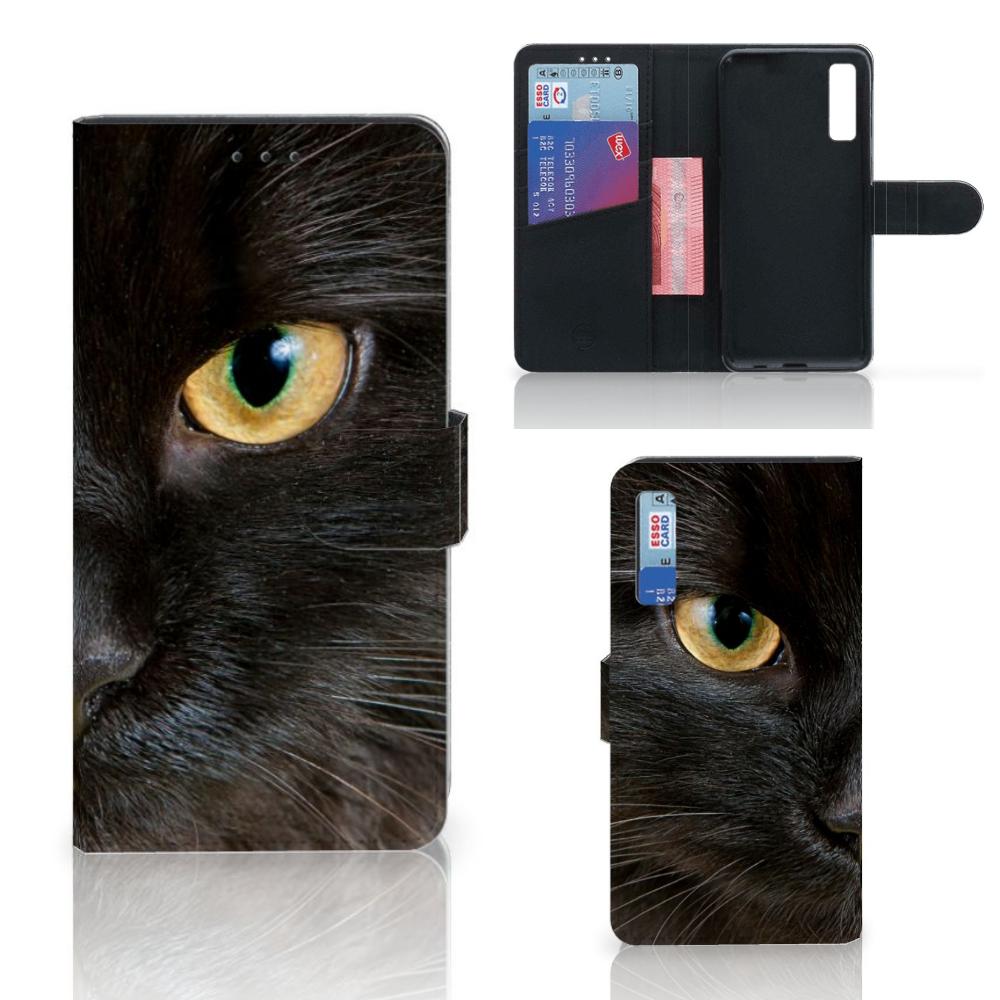 Samsung Galaxy A7 (2018) Telefoonhoesje met Pasjes Zwarte Kat