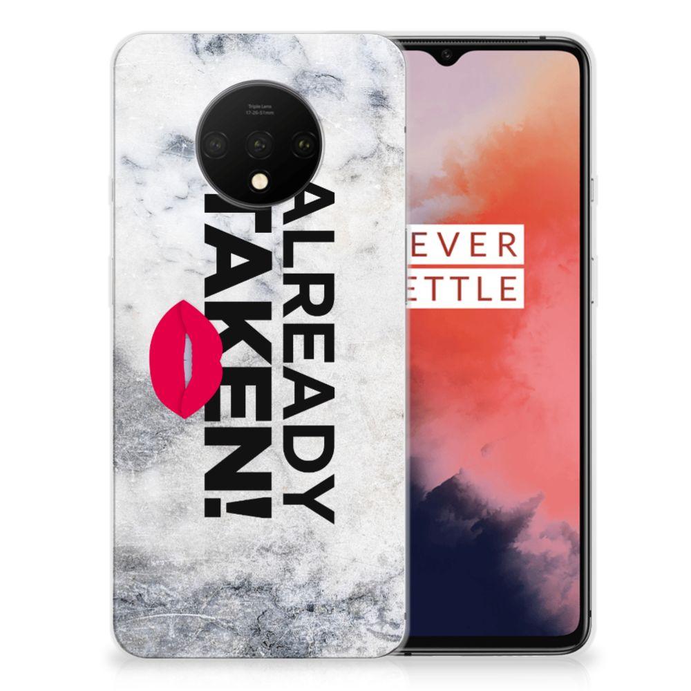 OnePlus 7T Siliconen hoesje met naam Already Taken White