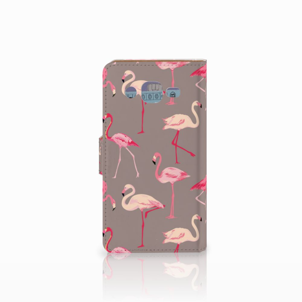 Samsung Galaxy J2 (2015) Telefoonhoesje met Pasjes Flamingo